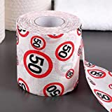 Scherzartikel Deko Spass Toilettenpapier zum 50.Geburtstag lustiges Geschenk mit Verkehrsschild 50