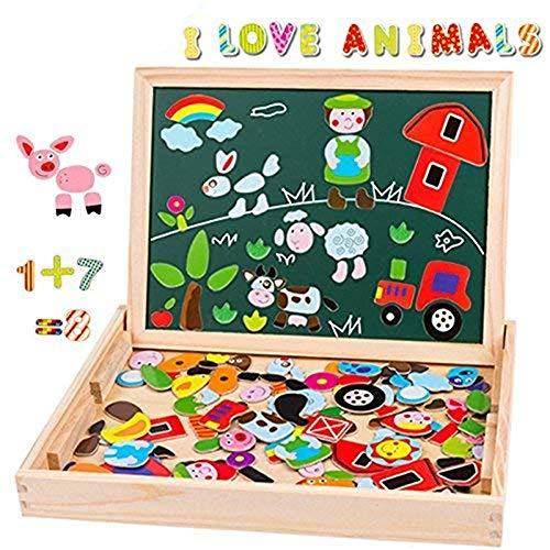 Uping Puzzle Magnetico Legno Giocattolo di Legno con Lavagna a Double Face Bambini 3 Anni 4 Anni 5 anni--155 Pezzi