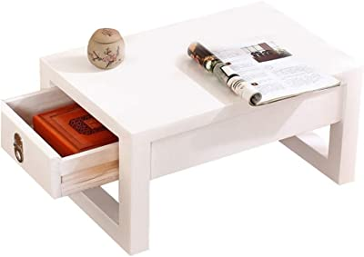 Coffee Table Balcony Low Table Living Room Mini Coffee Table Laptop Table Tea Table with Drawers (Color : White, Size : 80x50x30cm)