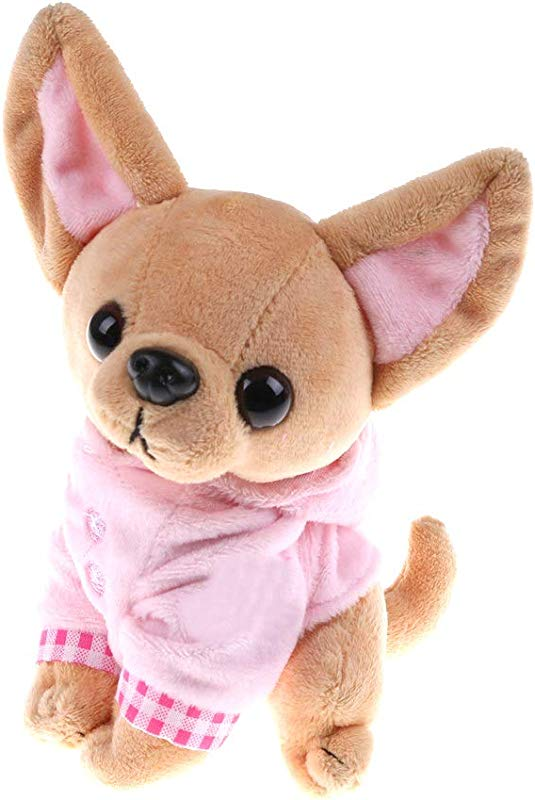 SUSHAFEN Chihuahua Dog Plush Toy Soft Doll Stuffed Animal Pillow Birthday Gift Present Cute Dog Ornaments Decoration Handicraft House Desktop Decoration Prop 17cm 6 7
