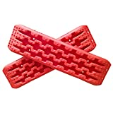 Yeeoy 2 Pcs Red Tire Traction Mat Tool for Sand Mud Snow Off-Road Traction Boards
