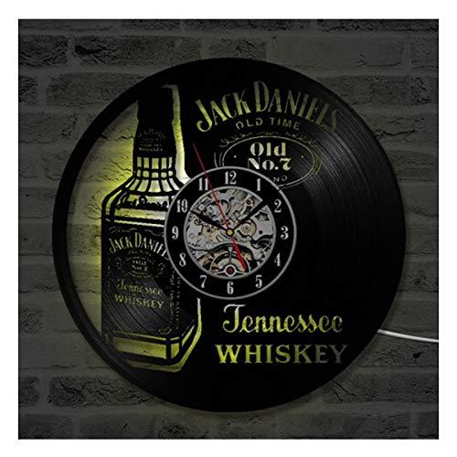 TANCEQI Vinyl Clock Jack Daniels Whisky - Schallplatten Wandkunst handgefertigte Dekor - Vintage Geschenk für Männer & Frauen Jack Daniels Whisky Liebhaber(Lieferzeit: 3-5 Tage),with Light