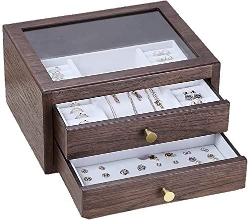 Qasole Caja de joyería de Madera Caja de la joyería de la Caja de joyería de la Caja de joyería de la joyería de Madera para Pendientes, Collares, Pulseras, Relojes (Color : B)