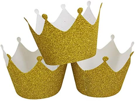 Mybbshower 36 Pcs Gold Glitter Crown Cupcake Wrappers Cake Paper Cups Muffin Case Trays for product image