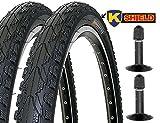 KENDA 2 x Fahrradreifen Pannensicher 26 Zoll 26x1.95 50-559 K-Shield inklusive 2 x Schlauch mit Autoventil inklusive BDCP Reifenheber 3er Set schwarz