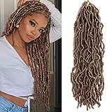 Faux Locs Crochet Hair 18 inch 6 Packs Goddess Locs Crochet Braids Pre-Looped New Locs Crochet Hair for Black Women Synthetic Goddess Locs Braiding Hair (18 Inch, 27#)