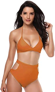 Swimming set Womens Bikini Set High Waisted Sexy Swimwear Padded Slimming Beach Bathing Suits For Women YLYCUICAN (Color : Orange, Size : L)