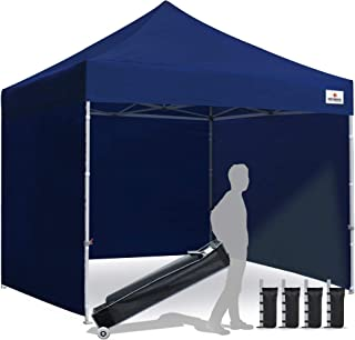 Keymaya 10'x10' Ez Pop Up Canopy Tent Commercial Instant Shelter with 4 Removable sidewalls Bonus Weight Bag 4-pc Pack (Navy Blue)