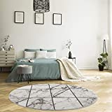 MyShop24h Alfombra redonda – 160 x 160 cm – beige gris – pelo corto – aspecto de azulejos moderno para salón dormitorio aspecto mármol decoración