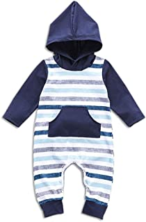 Fairy-Baby Newborn Unisex Baby Autumn Clothes Cotton Long Sleeve Stripe Boys Romper Contrast Color Hooded Pajamas Babys Daily Bodysuit (Color : Blue, Size : 100CM)