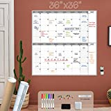 Large Dry Erase Wall Calendar - 36x36 Inches - Blank Undated Reusable 2 month Calendar - Jumbo 2 Month Calendar for Home, Office and Classroom