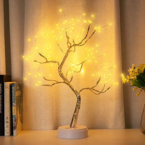 Tabletop Fairy Light Spirit Tree Lamp with 108 LED Bonsai Tree Lights, DIY Artificial Tree Lights, Sparkly Tree Lamp Battery/USB Operated, for Bedroom Desktop Christmas Party Decor Lights (Warm White)