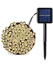 SALCAR LED Solar Işık Zinciri, Bahçe Dekorasyonu, 100 LED, Su Geçirmez LED, Dış Mekan Işık Zinciri, 12 m, RGB/Sıcak