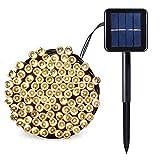 Salcar - Guirnalda de luces LED solares para jardín (100 ledes, resistente al agua, 12 m, multicolor/blanco cálido) [Clase de eficiencia energética A++]