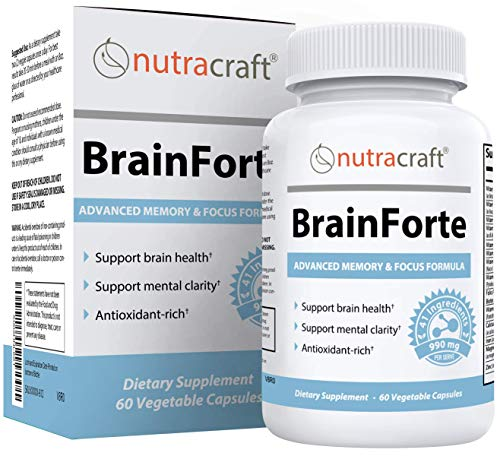 BrainForte Memory & Focus Supplement   Supports Mental Focus & Brain Health   41 Active Ingredients Including DMAE, DHA & Antioxidants   Made in The USA   60 Vege Capsules   100% Money Back Guarantee