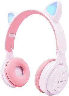 IHAO-Auriculares de Diadema con micrófono inalámbrico Bluetooth 5.0, Sonido estéreo HiFi, Plegables, Suaves, luz LED, Compatible con Smartphone/TV/Pad/Laptop para Viajes a casa (Blanco M6)