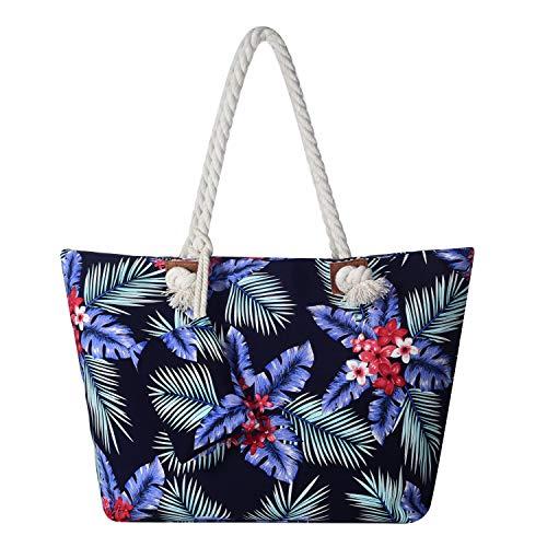 Große Strandtasche wasserabweisend mit Reißverschluss Hawaii Flower