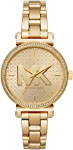 Michael Kors Women's Sofie Quartz Watch with Stainless-Steel-Plated Strap, Gold, 14 (Model: MK4334)
