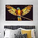 wZUN Carteles e Impresiones de Animales de pájaro Loro Dorado Pintura de decoración de Lienzo para Sala de Estar Pintura de decoración del hogar 60x80 Sin Marco