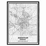 Darmstadt Deutschland Karte Wandkunst Leinwand drucken