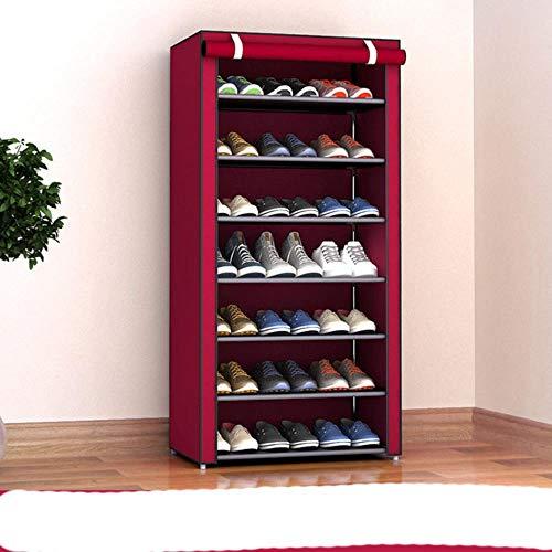Estante de zapatos multicapa Estante de zapatos de pie de metal de aluminio Estante de almacenamiento de zapatos de bricolaje Accesorios de organizador de sala de estar para el hogar-Velcro 26