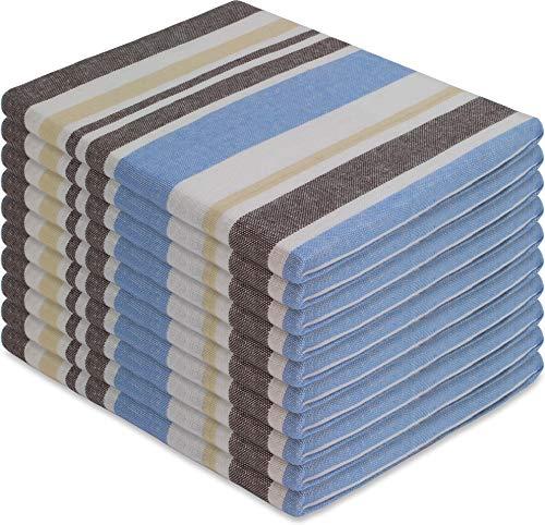 normani 10 x Halbleinen Geschirrtücher, Geschirrtuch, Küchentuch, Abtrocktuch waschbar bis 60° C Farbe Toffee Blau