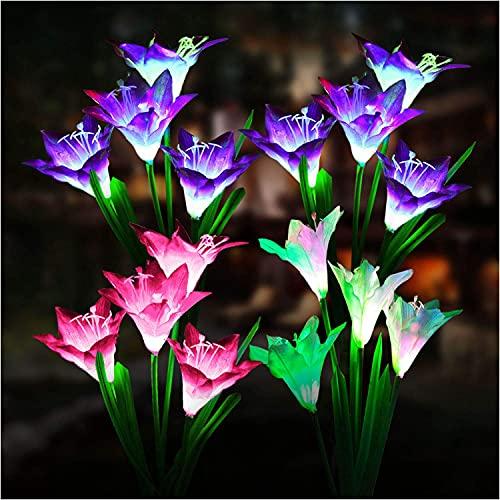 Paquete de 2 luces solares para jardín al aire libre, luz solar de girasol, impermeable, con flor de lirio más grande, multicolor exterior de jardín de iluminación ornamentos para regalo