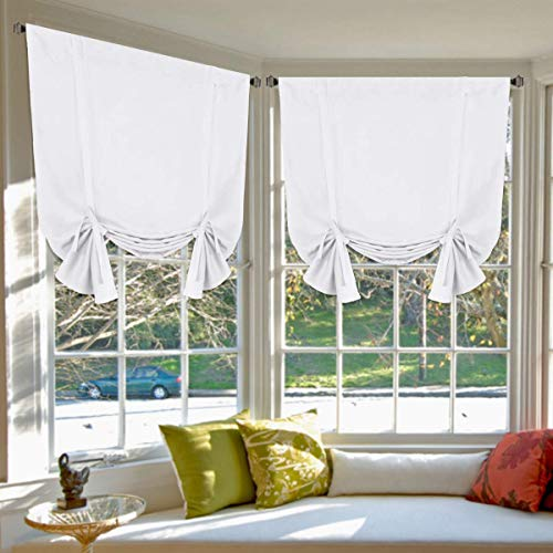 """Pure White Curtains Thermal Insulated Tie Up Window Shade Light Reducing Curtains for Kitchen, Rod Pocket 2 Panels- 42"""" Wide by 63"""" Long"""