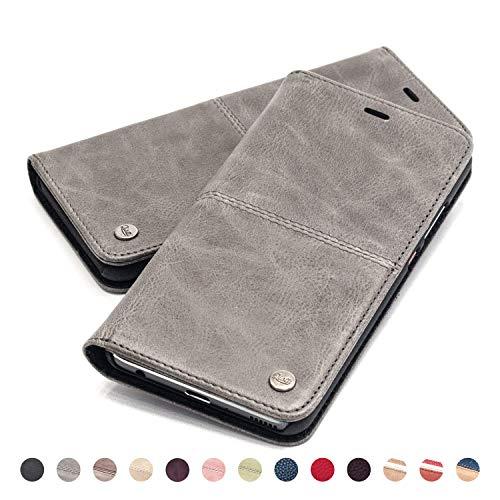 QIOTTI Hülle Kompatibel mit Galaxy A70 Ledertasche aus Hochwertigem Leder RFID NFC Schutz mit Kartenfach Standfunktion in (Smart Grey)