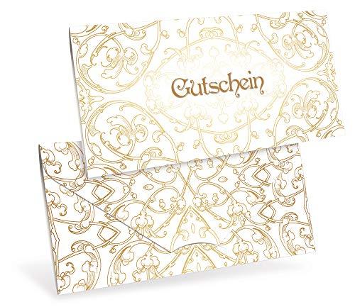 Verschiedene Motive - Gutscheinkarten (10 Stück) für Ihre Kunden - Geschenkgutscheine für Einzelhandel, Kunstgewerbe, Accessoires, Juwelier - DIN lang Faltkarte verschließbar