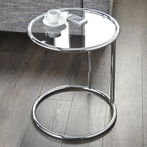 CAGÜ - Art Deco Design BEISTELLTISCH [SATURNUS] Chrom & Glas 55cm HÖHE