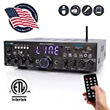 Wireless Bluetooth Home Stereo Amplifier-Multi-Channel 200 Watt Power Amplifier Home Audio Receiver System W/Optical/Phono/Coaxial, FM Radio, USB/SD, AUX, RCA, Mic in-Antenna, Remote-Pyle PDA4BU