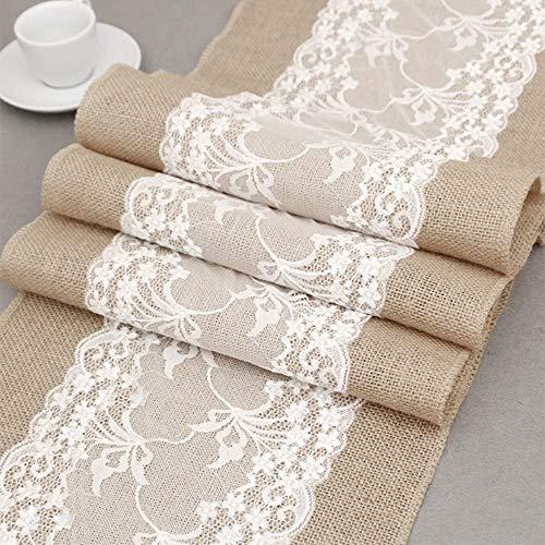 Auped Camino de mesa de yute de 1 pieza con encaje, camino de mesa de arpillera para bodas, eventos, decoración de mesa, 30 x 275 cm. ⭐