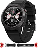 Smart Watch for Android Phones iOS, GPS Smartwatch for Men with Heart Rate and BP Monitor, Pedometer, Text Call Notification, Compass, Barometer, Altitude, Leather and Rubber Bands, Round Face, 2020