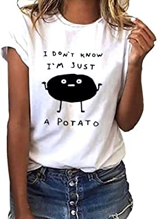 I Don't Know I'm Just A Potato Shirt Women Teen Girls Vintage T-Shirt Funny Tops Tees Gifts