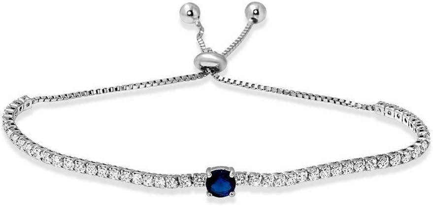 925 Sterling Silver Jacksonville Mall Lariat Bracelet W Diamond Sapphire LAB 9 online shop