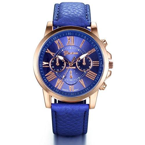 JewelryWe Damen Armbanduhr, Elegant Exquisit Casual Analog Quarz Leder Armband Uhr mit Bonbonfarbenen Römischen Ziffern Zifferblatt, Blau