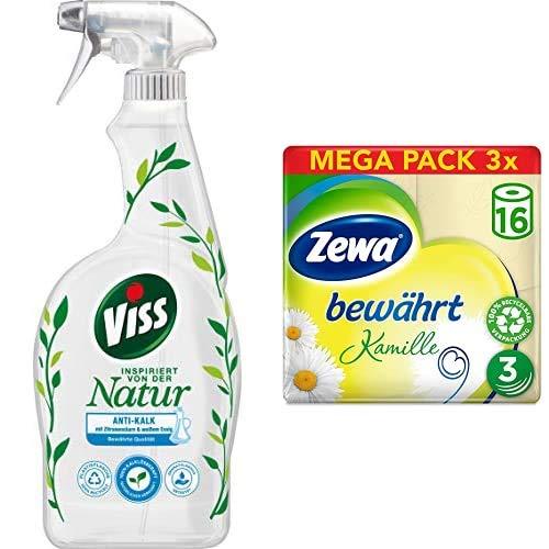Viss & Zewa Set (4er Pack) mit Reinigungsspray Anti-Kalk (1 x 750 ml) &Toilettenpapier trocken Kamille, 3-lagig (3 x 16 Stück)