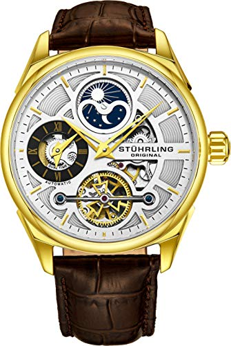 Stuhrling Original Men's Luxury Skeleton Dress Watch, Automatic Movement, Yellow Gold Case, Silver Dial, Brown Calfskin Leather Band