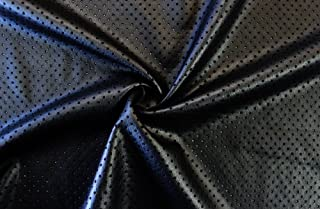 2-Way Stretch Black Perforated Faux Leather Fabric By The Yard