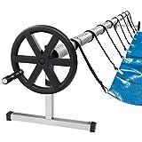 Arebos Sistema móvil de enrollado de para lonas solares y de piscina | longitud de 3m - 5,70m | material resistente a la intemperie | incluye fijación y rollos