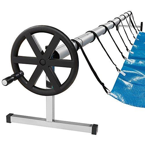 Arebos mobiles Aufrollsystem für Solar- und Poolplanen/Länge von 3-5,70 m/witterungsbeständiges Material