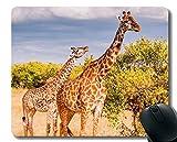 Yanteng Cojín de ratón del rectángulo, Bordes Animales de la Jirafa de Goma de la Jirafa Animal de la Fauna del bebé