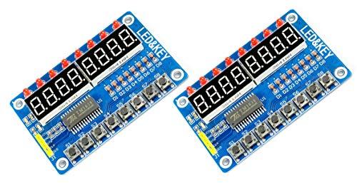 MissBirdler 2Stück digitales LED Display 8-Tasten Modul 8-Bit TM1638 für Arduino, Raspberry Pi, DIY