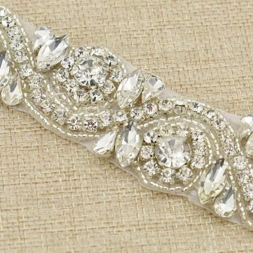DS-73364 1 Yard Challenge the lowest price of Japan ☆ Silver Gold Color Import Crystal Rhinestone Trim Bridal