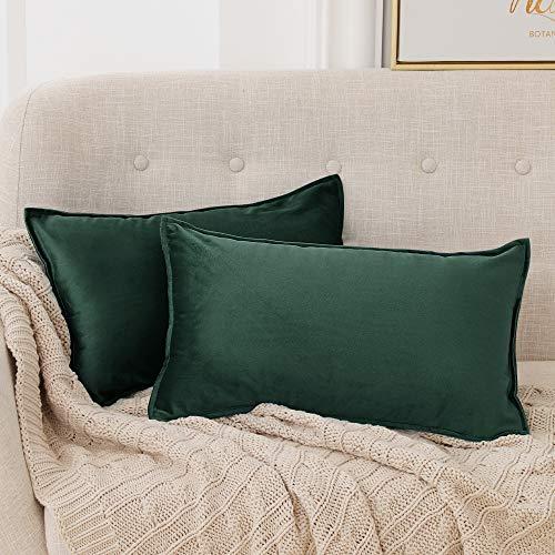 Deconovo Set di 2 Fodera Cuscino Divano con Cerniera Invisibile per Casa in Velluto 30x50cm Verde Scuro