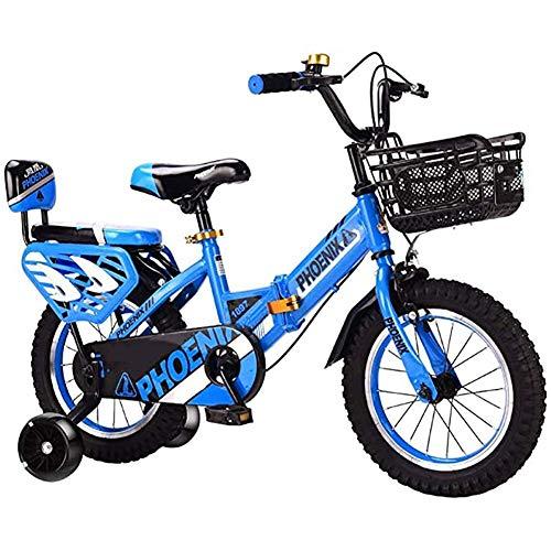 GBX Bicicleta, Bicicleta Plegable para Niños de 2-3-6-7-8 Años de Edad, 14/16/18 Pulgadas Llanta de Aleación de Magnesio City Road Bike 5Cm Silent Flash Silent Wheel Wheel Car Auxiliar, 14 Pulgadas,1