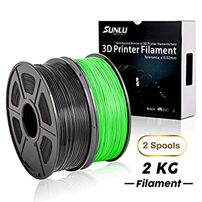 PLA+ Filament 3D Printer Filament,2kg Spool (4.4 lbs) 1.75mm,Dimensional Accuracy +/- 0.02 mm, 2 Packs (Black + Green) by SUNLU
