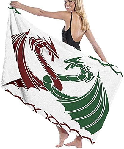 Telo Mare Grande 130 ×80cm, Disegno del tema dei draghi ,Asciugamano da Spiaggia in Microfibra Asciugatura Rapida,Ultra Morbido,Uomo,Donna,Bambina