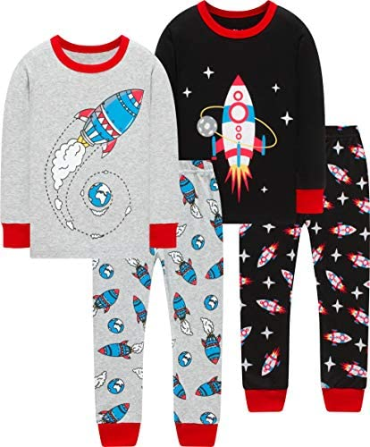 Boys Rocket Pajamas Christmas Baby Girls Space Pjs Children Long Sleeve School Sleepwear 7t product image
